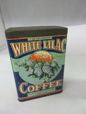 Vintage White Lilac Coffee Tin   Advertising Collectible  229-F