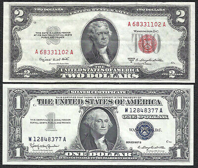 1953B $2 RED! 1957B $1 **SILVER** 2 Notes! CRISP VF! Old US Paper Money Currency
