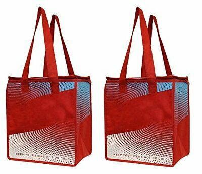 Earthwise Insulated Reusable Grocery Bag Shopping Tote - Keeps Food Hot (Red)