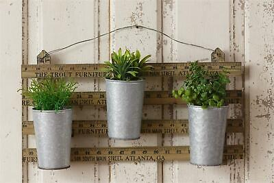 New Rustic wood Ruler Wall Hanging with Tin Planters
