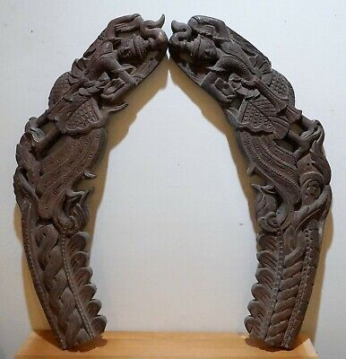 Stunning Pair Of Thai Carved Wood Antique Buddhist Temple Brackets / Fragments