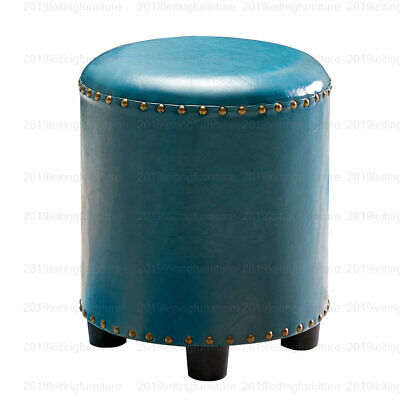 Round Ottoman Footstool Pouffe Dressing Table Foot Makeup Stool Seat Blue