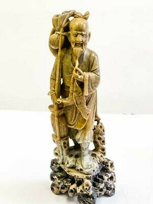 "Antique Chinese  Stone Hand Carved A Fisherman Statue 10""H On Pedestal"