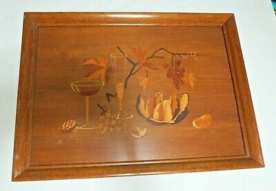 Buchschmid Gretaux Mid Century German Wood Inlay Marquetry Signed BG Wall Art