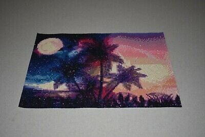 Completed/Finished diamond painting art Oasis tropical island 10'' by 14''