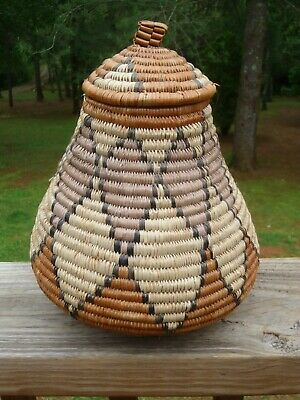 """KwaZulu Africa Hand Woven African Zulu Lidded 9"""" BASKET CONTAINER w/History Tag"""