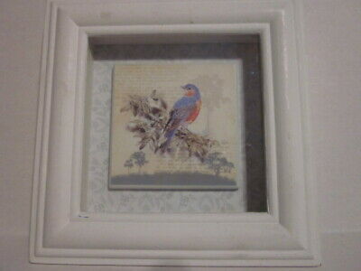 Decorative Framed Shadow Box with Colorful Red-Breasted Robin Tile on Floral Ba