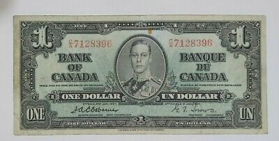 Bank Of Canada 1937 $1 Bank Note. BC-21a, Osborne-Towers. S.N. CA7128396