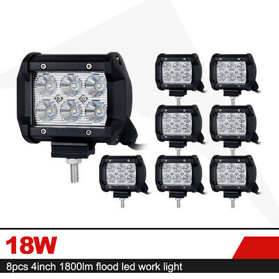 8x 4inch 18W CREE LED Work Light Bar Flood Beam Truck Offroad Driving Lights