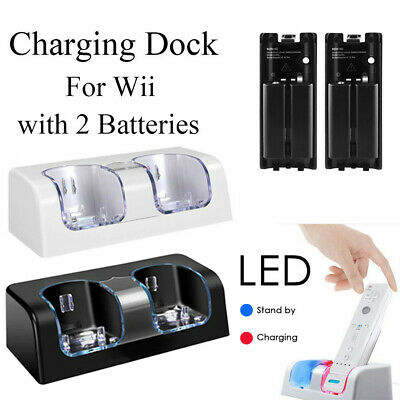 For Nintendo WII Remote Controller 2 Batteries + Charger Charging Dock Station!