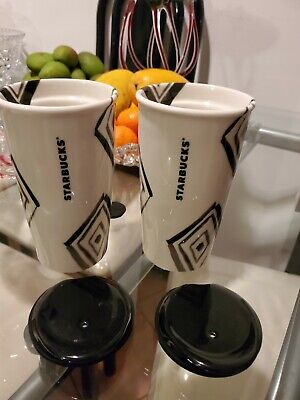 Starbucks White Ceramic Travel Tumbler Mug Cup Set  2014 10 Oz with Black lid