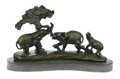 Art Deco African Elephants Metal Signed Barye Royal 100% Pure Bronze Bookend