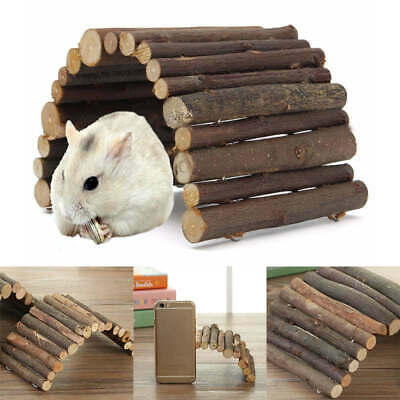 Arch Ladder Bridge Dodging House Hamster Tunnel Pet Wooden Guinea Pig Rabbit Toy
