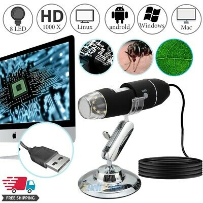 8LED 1000X USB Zoom Digital Microscope Endoscope Magnifier Camera Video w/ Stand