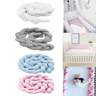 1/2/3m Nursery Room Baby Cot Bumper Plush Twist Infant Bed Crib Protector Pillow