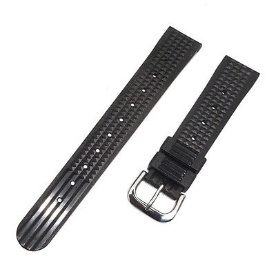 Mens Soft Rubber Waffle Diver Watch Band Strap For Seiko 6159 6105 6217 20mm UK