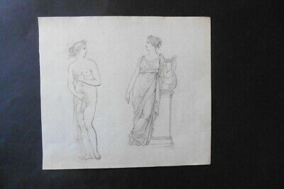 French School Ca. 1823 - Classical Figures - Female Nude - Pencil Drawing