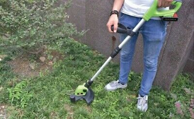 Electric Cordless Grass Trimmer Garden Lawn Strimmer Cutter Cut BATTERY INCLUDED