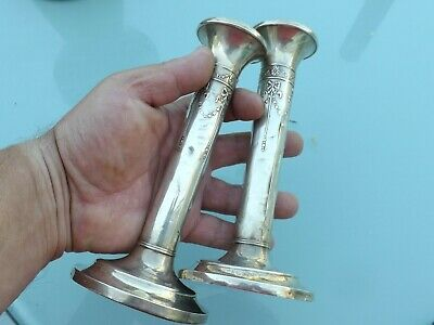 Vintage Pair Silver English Hallmarked Candlesticks - Free Uk Delivery