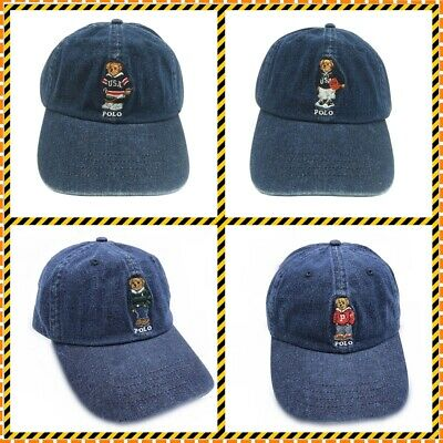 Baseball Cap Denim Adjustable Teddy Bear Embroidery Outdoor Jean Blue Sport NEW