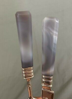 China Trade Silver and Agate Cutlery