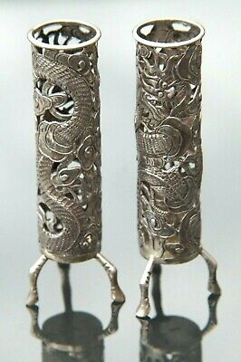 Pair Of Wang Hing Pierced Chinese Dragon And Cloud Export Silver Spill Vases