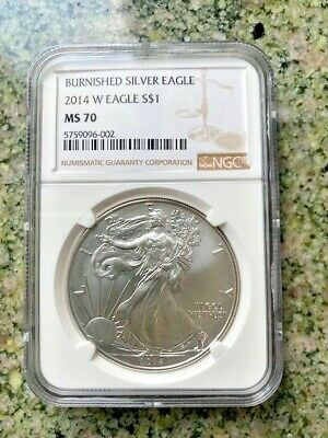 2014-W $1 Silver American Eagle Burnished Ngc Ms70