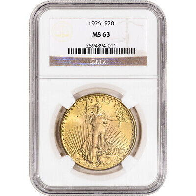 1926 US Gold $20 Saint-Gaudens Double Eagle - NGC MS63