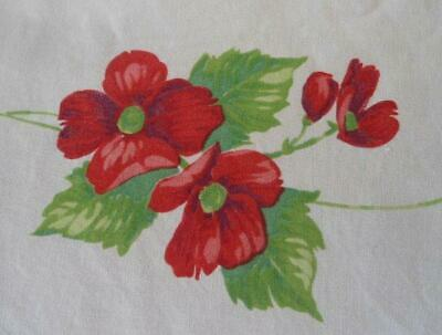 Vintage Red Printed Cotton Tablecloth Large Poppy Flowers Floral 70""