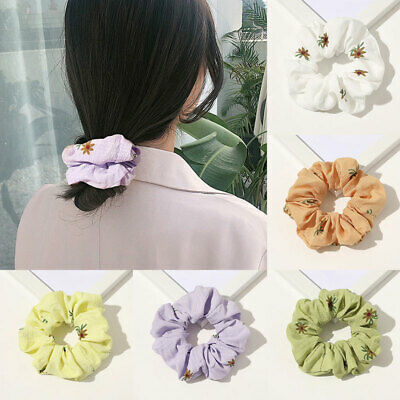 Women Gilrs Sweet Hair Band Daisy Printed Rubber Band Hair Ring Hair Rope Ties