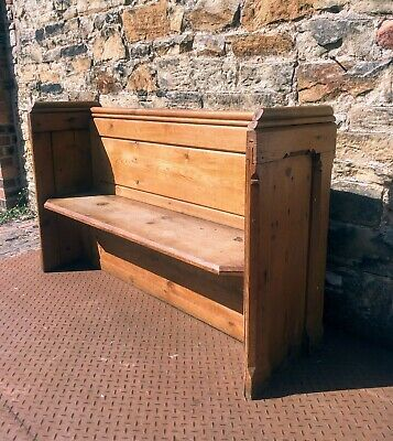 Old solid pitch pine church pew settle bench seat monks original