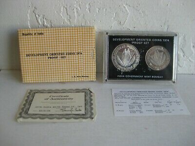 1974 India Mint Bombay Development Oriented Proof Silver 2 Coin Set 5 10 Rupees
