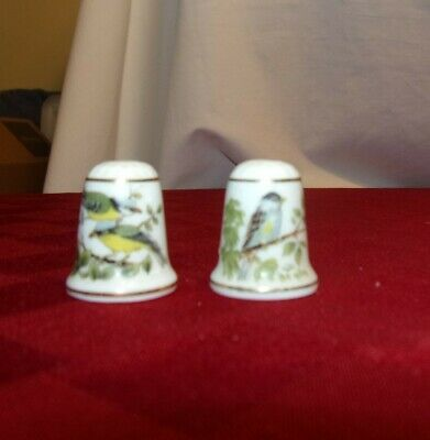 Set of 2 Porcelain Bird Thimbles , great condition