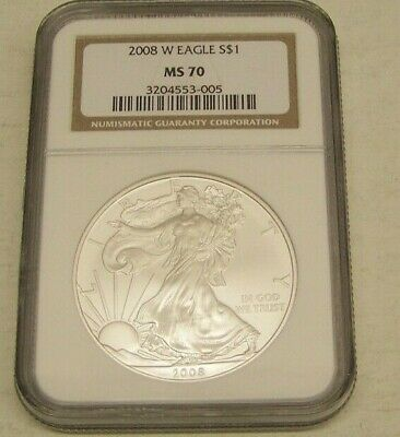 2008 W American Silver Eagle Dollar NGC MS 70 Brown Label