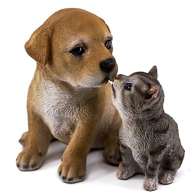 """Yellow Labrador Puppy With Gray Kitten Figurine Statue 5.25""""H Resin New In Box!"""