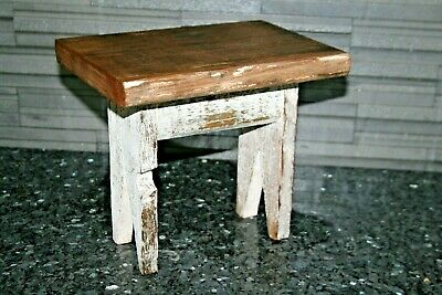 Vintage Antique Solid Wooden Rustic Primitive Milking Stool Childs Wood Shabby