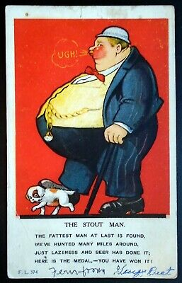 "1915-20s ""The Stout Man"" Poem, Overly Obese, Little Dog, Humor Card"