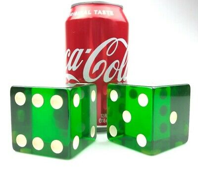 HUGE PAIR Vintage GREEN BAKELITE Dice 316 grams 2 inches Tested! RARE
