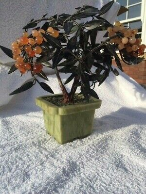 Antique Carved Chinese Jade Tree Hardstone Cloisonne Semi-precious stones
