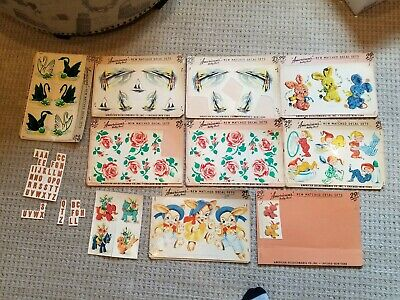 Vintage DECALS American's Betty Best Decalcomania Rose's elves sailboats swans