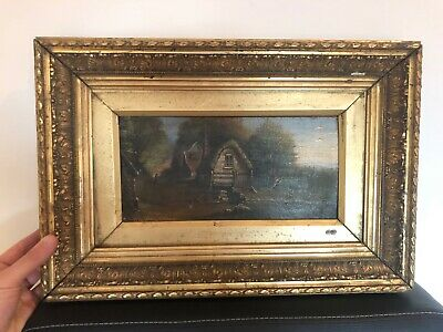 Really Old Painting Oil On Canvas 19th Century Landscape With Cottage And River