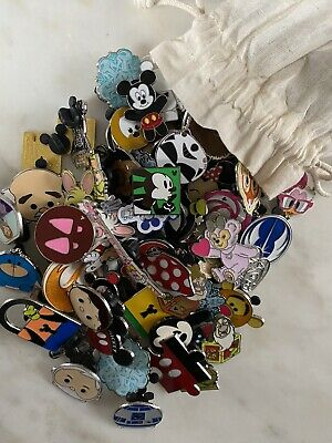 Sack Of 25 Different Disney Pins: Mixed Lot: Fastest Shipper Usa Seller