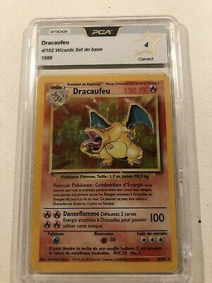 Carte Pokémon Dracaufeu 4/102 Set De Base FR PCA 4 French Charizard Wizard Holo