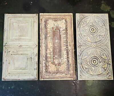 """Lot of 3 Large Antique Victorian Ceiling Tin Wall Art Reclaimed 12.5"""" x 24.5"""""""