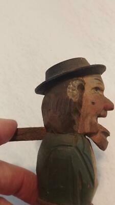 Hand Carved/Painted Wooden Nutcracker Movable Mouth Wine Bottle Cork Stopper