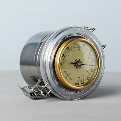 Tobacco Storage Humidor Jar hygrometer Herb Container Stainless Steel Airtight