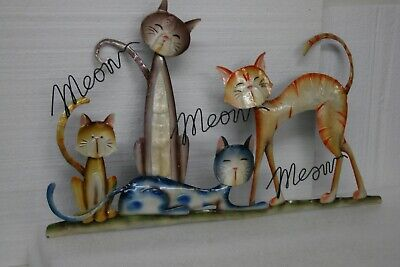 Enameled metal group of cats decorative wall hanging 3D Meow Super Nice