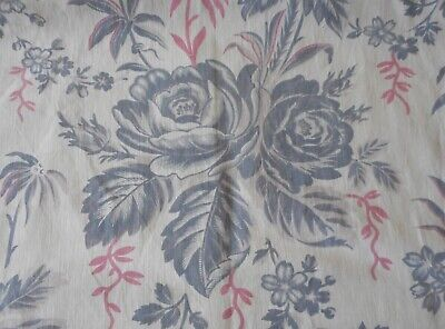 Antique French Botanical Roses Floral Cotton Fabric ~ Grey Pink