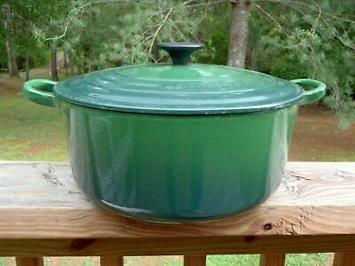 Vintage LE CREUSET Green Cast Iron Round 5.5 QT DUTCH OVEN POT w/LID #26 VGUC NR