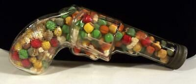 Vtg Glass Revolver With Embossed R Grip Gun Candy Container W/Orig Cap & Content